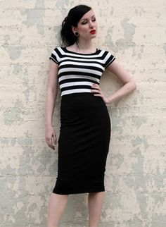 Hotrod Hussy - Delinquent skirt Rockabilly stretchy pencil skirt