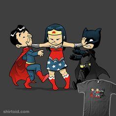 """Super Childish"" by DoOomcat Wonder Woman breaks up a fight between Superman and Batman"