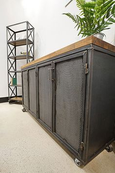 Need extra storage space? Our Edwin Credenza will fix that and look amazing in any commercial or residential space. Industrial Furniture, Dream Kitchens Design, Industrial Design Furniture, Welded Furniture, Garage Style, Industrial Interiors, Kitchen Furniture Design, Industrial Office Furniture, Metal Furniture