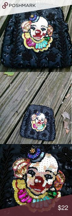 Rare Vintage Clown Clutch Super adorable evening bag! Perfect for adding a pop of color to your New Year's Eve outfit. Not sure about the maker or year of the bag. A few of the sequins on the front at the top are missing but in over all great shape. Chain has been replaced by myself. Would also make a great gift for a clown collector!! Vintage Bags Clutches & Wristlets