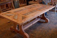 Stylish Wood Dining Room Tables Reclaimed Dining Tables Inlay Wood Dining Table Design For Our Dining Table With Leaf, Custom Dining Tables, Reclaimed Wood Dining Table, Dinning Room Tables, Trestle Dining Tables, Wood Tables, Reclaimed Lumber, Kitchen Tables, Salvaged Wood