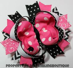 Hey, I found this really awesome Etsy listing at http://www.etsy.com/listing/151702651/black-and-hot-pink-hair-bow-cute-hairbow
