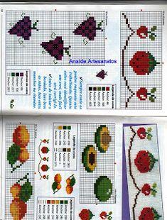 Anaide Ponto Cruz: Lindos gráficos mini de frutas em ponto cruz!!!!!!segunda parte!!!!!! Butterfly Cross Stitch, Leh, Cross Stitch Patterns, Bullet Journal, Mini, Kitchen, Small Cross Stitch, Cross Stitch Borders, Cross Stitch Fruit