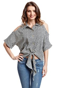 LUCKY AND COCO Polka-Dot Cold-Shoulder Blouse