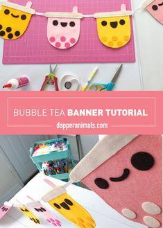 Tea Party Theme, Party Themes, Felt Banner, Pink Grapefruit, Bubble Tea, Milk Tea, Felt Fabric, Pink Flamingos, Dapper