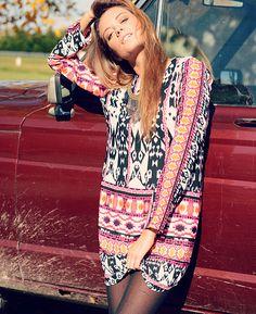 fb5e318cb82 Renee C Ikat Border Print Dress