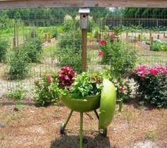 Repurposed Grill~Don't throw that old pit away! Paint it in your favorite color & plant your favorite in it! I'd plant herbs~Italian parsley & onion tops if it were me!