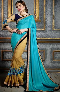 Blue and #Brown #Color Saree @ http://www.indiandesignershop.com/product/blue-brown-color-saree-4/