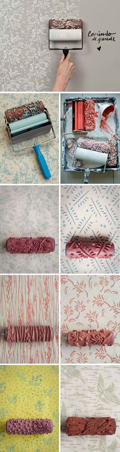 43 Super Ideas For Painting Wallpaper Ideas Floors Home Projects, Projects To Try, Patterned Paint Rollers, Do It Yourself Decoration, Stoff Design, Diy Wand, Painting Wallpaper, Wallpaper Ideas, Wallpaper Decor