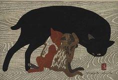 """Art by Kiyoshi Saito (Japanese, 1907-1992), """"Cat and Kittens"""", Style Sōsaku hanga.  #Black_Cat"""