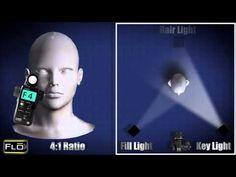 ▶ Basic Lighting Techniques - YouTube for portraiture, different ratios for 3 lights, key light, fill light, hair light