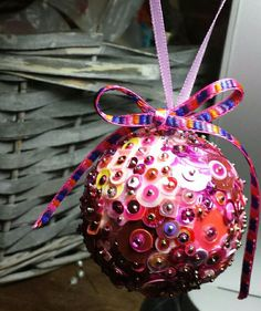 Polystyrene and sequin bauble made by Chantell