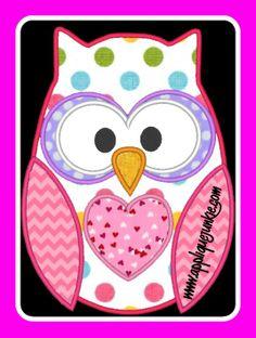Valentine Owl Applique Design from Applique Junkie