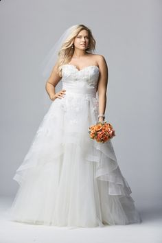 The top 10 plus size wedding dress designers for chic, stylish, fashion forward brides by Shafonne Myers of Pretty Pear Bride.