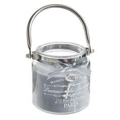 Bougie lanterne grise H 10 cm ARISTO | Maisons du Monde