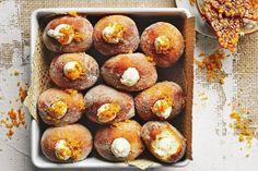 Italian bomboloni with ginger custard Cinnamon Ice Cream, Pear Jam, Italian Desserts, Sweet Desserts, Italian Recipes, Custard Recipes, Thing 1, Salted Chocolate, Doughnuts