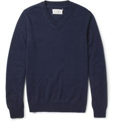 Maison Martin MargielaLeather Elbow Patch Wool Sweater|MR PORTER
