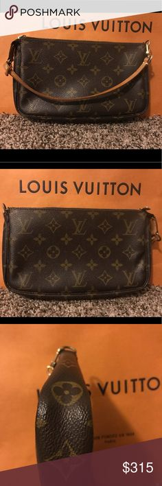 Louis Vuitton Pochette Accessoires This purse is a beauty and can wear so many hats. Place in your larger bags as a catchall for loose items or as a makeup case. Throw in your weekend bag as a toiletry case for a quick trip. It's a wristlet, a compact shoulder bag or add a longer strap for a cute crossbody. The vachetta strap and canvas are in very good condition. Louis Vuitton Bags Mini Bags