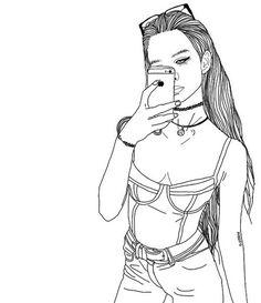 joanna kuchta outline (my outline) on We Heart It Tumblr Outline, Outline Art, Outline Drawings, Cute Drawings, Drawing Sketches, Tumblr Girl Drawing, Tumblr Drawings, Tumblr Art, Tumblr Girls