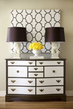 Projects you can do with a little paint. I like this geometric wall art--almost functions like a hint of wallpaper without the commitment.
