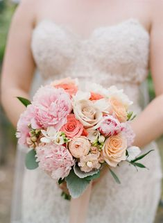 Gorgoues pink, white, and coral peony wedding bouquet Lace Bouquet, Peony Bouquet Wedding, Floral Wedding, Wedding White, Dream Wedding, Petals Florist, Spring Wedding Bouquets, Bridal Bouquets, Wedding Dresses