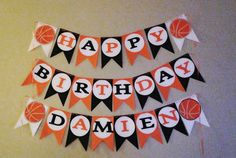 My basketball birthday banner. Birthday party decorations. Basketball theme party