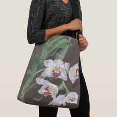Botanical White Orchid Flowers Shoulder Tote Bag - accessories accessory gift idea stylish unique custom