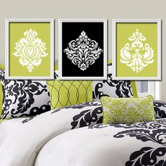 Lime Green Black Wall Art, Bedroom Pictures CANVAS or Prints Bathroom Artwork Bedroom Pictures Damask Wall Art, Damask Pictures Set of 3 Art Bedroom Green, Bedroom Wall, Bedroom Decor, White Bedroom, Bedroom Designs, Bed Room, Bedroom Ideas, Black Wall Art, Black Walls