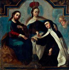 Francisco Magón-La Virgen del Carmen con san José y monja