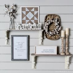 If you're going for a farmhouse-inspired gallery wall, you can't go wrong with a neutral color palette coupled with natural elements like cotton and wood decor!