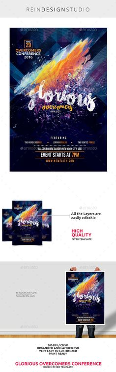 Glorious Overcomer Conference Flyer Template PSD #design Download: http://graphicriver.net/item/glorious-overcomer-conference/14524884?ref=ksioks