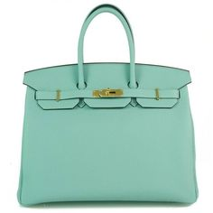 Pre-Owned Hermes 35cm Birkin Blue Atoll Leather Bag Gold Hardware ($17,500) ❤ liked on Polyvore featuring bags, handbags, hermes, light blue, leather hand bags, green leather handbag, light blue purse, evening purses and blue leather purse