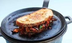 """This article titled """"Chris Gillard's recipe for harissa and sweet potato toastie"""" was written by Chris Gillard, for The Guardian on Thursday November 2018 UTC The toastie is a fantastic vehicle for leftovers from a previous feast. Fish Recipes, Veggie Recipes, Beef Recipes, Vegetarian Recipes, Veggie Meals, Lunch Recipes, Potato Sandwich, Waffle Sandwich, Low Fat Vegan Recipes"""