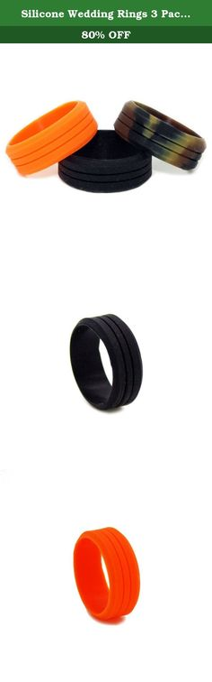 Silicone Wedding Rings 3 Pack (Orange, Camo and Black) - Great for Outdoors, Sports, Gym, Electricians - RIng Size 11. Avoid ring avulsion and save your ring finger by wearing a rubber wedding ring! Having a Camo Wedding? Do you LOVE CrossFit and using free weights in the gym? Love the outdoors and hunting? Do you work with your hands or are constantly in the working out? Searching womens and mens wedding bands, but can't find anything original?! #1CAMO created this Outdoor & Camo Wedding...