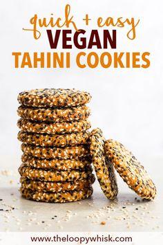 Quick + Easy Vegan Tahini Cookies (Gluten Free, Dairy Free, Vegan, Paleo) - If you have 30 minutes to spare, make these delicious vegan tahini cookies. Quick Cookies, Gluten Free Cookies, Healthy Cookies, Cookies Vegan, Vegan Cookie Recipe, Biscuits Végétaliens, Vegan Biscuits, Biscuits Faciles, Desserts Végétaliens