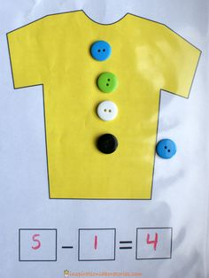 Subtraction: Helping the students make subtraction fun by using Pete the Cat and buttons. Practice sorting, counting, and subtraction using buttons to go along with Pete the Cat and His Four Groovy Buttons. Subtraction Kindergarten, Subtraction Activities, Kindergarten Math Activities, Preschool Math, Math Classroom, Teaching Math, Numeracy, Numbers Kindergarten, Teaching Reading