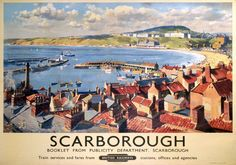 Scarborough Town Yorkshire. BR Vintage Travel Poster by Gyrth Russell. 1950
