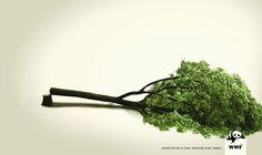 Sem árvores – sem pandas. Essa é a mensagem bem objetiva passada por esse impresso da agência italiana The Name...