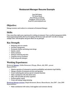 resume for restaurant manager  Restaurant manager resume will ease anyone who is seeking for job related to managing a restaurant. A manager can be best described as a person that h...
