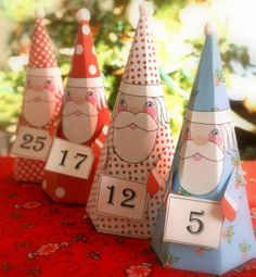 Merry Christmas from Kathy's Cottage Free printable candy boxes or advent calendar Santas