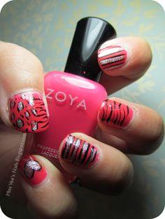 Zebra, Leopard, Stripes, Glitter nail art!
