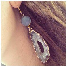 Agate Slice & Chalcedony Earrings