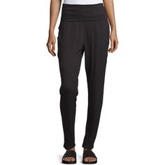 Marc Ny Performance Long Pull-On Harem Pants ($27) ❤ liked on Polyvore featuring pants, black, pull on pants, fold over pants, pull on trousers, relaxed pants and marc new york