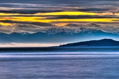 This was taken at Washington Park in Anacortes, WA. It is 5 exposure blended together using Photomatrix Pro, and enhanced by Lightroom. Olympic Mountains, Washington Park, Mountain Range, Pacific Northwest, North West, Heavenly, Lightroom, Olympics, Waves