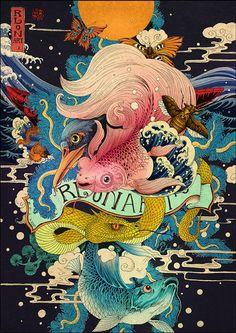 RLoN Wang原创的浮世绘风格的插画