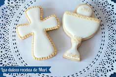 Comunion Baptism Cookies, Easter Cookies, Cupcake Cookies, First Holy Communion Cake, Cross Cookies, Religious Cakes, Confirmation Cakes, Sugar Cookie Frosting, Cookie Designs