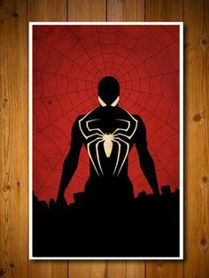Captain America, Batman , Iron Man and Spider-Man Superheroes Poster Set. $50.00, via Etsy.