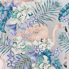Matthew Williamson Flamingo Club Wallpaper - W6800-05 ($110) ❤ liked on Polyvore featuring home, home decor, wallpaper, blue, flamingo wallpaper, floral pattern wallpaper, matthew williamson, blue home decor and flower pattern wallpaper