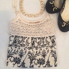 Damask Knit Tank Black and cream damask print.  Cute crochet neckline. Flowy style. *listing only includes tank* Daytrip Tops Tank Tops