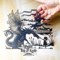 Dragon and Girl Papercut template